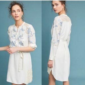 NWT AnthroTiny Amarante Embroided Shirt Dress